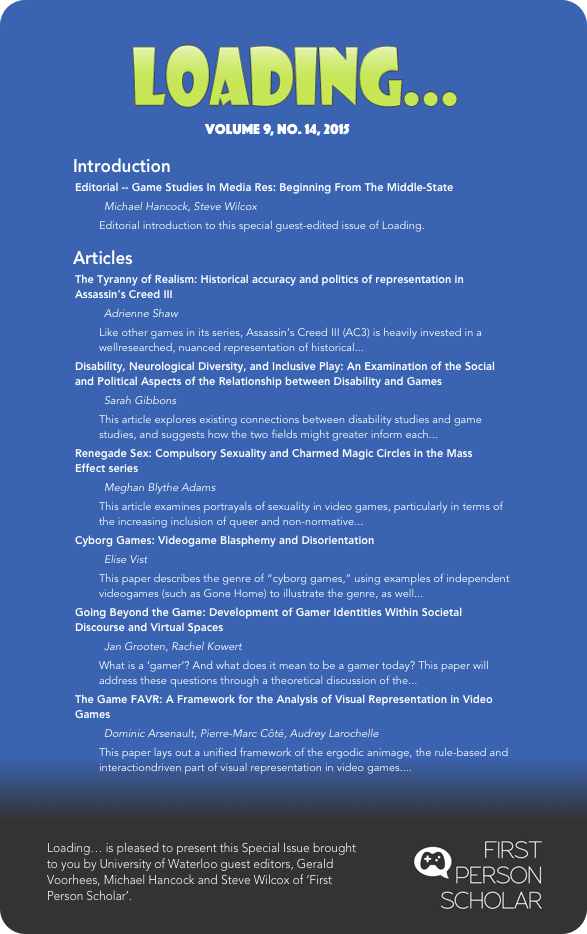 Special Issue: Game Studies In Media Res